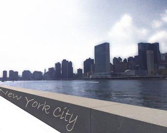 New York City Print, River Front, Skyline, Architectural Print,  Wall Art, Decor