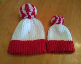 hand knitted bobble hat set
