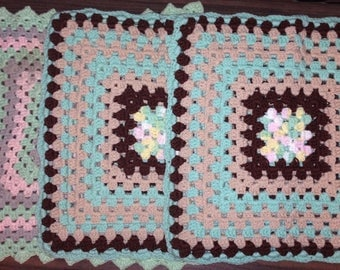 3 pc Lot~VTG Crocheted Large Granny Square Mint Green/Brown/Gray Pillow Covers