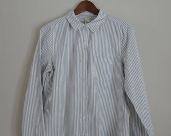gray striped button-up