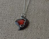 Enameled Red and Black Heart Pendant