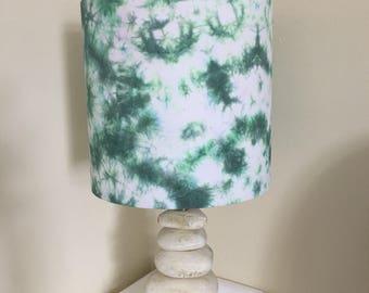 "Green shibori 10""x25cm lampshade"