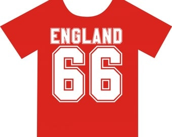 England 66, T-shirt. Available in colour red, in sizes Small, Medium, Large and Extra Large