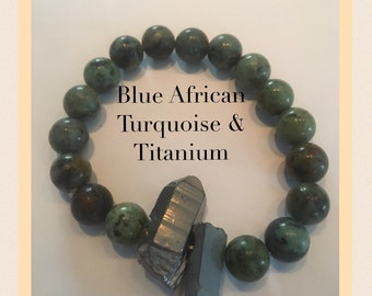 Blue African Turquoise & Titanium 10mm Beaded Bracelet