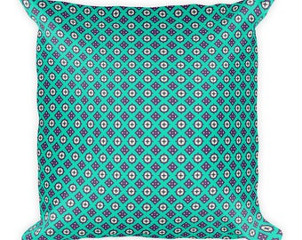 Aqua, Square Pillow, cover with stuffing, USA, printful