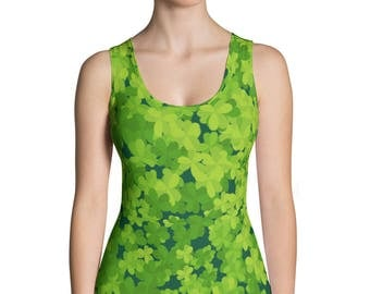 St.Patrick's Day Sublimation Cut & Sew Tank Top, Shamrock, Printful, USA, Lucky day