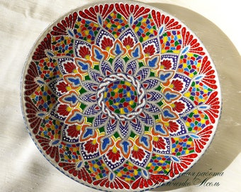 Decorative plate Garnet Dreams, hand-painted plate, glass plate, point-to-point, gift