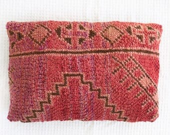 Rose Vintage Moroccan Pillow Cushion Cover Boujaad Kilim