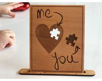 Love you card (You and Me) Laser Engraved