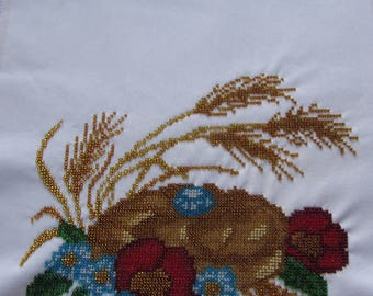 Wedding Towel embroidered with Czech beads, BREAD and SILK towel, embroidered with beads