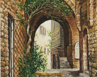 Old Jaffa, Acrylic on canvas, Home decor