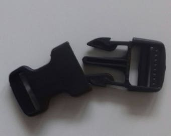 6 pcs. Plug Buckle black 25 mm