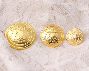 3 sizes 13/18/23mm 10pcs gold round button metal vintage buttons carved ROUTE 66