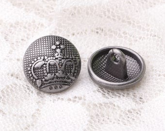 crown buttons 10pcs 13*8mm fashion buttons metal round shank buttons light black buttons embossed vintage buttons