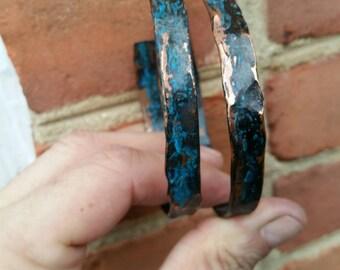 Copper,hammered, unique,  handmade,  coated, sealed, bangle,  adjustable, bracelet, double, patina.