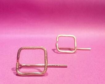 Copper square threader earrings