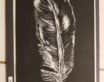 Scratchboard feather