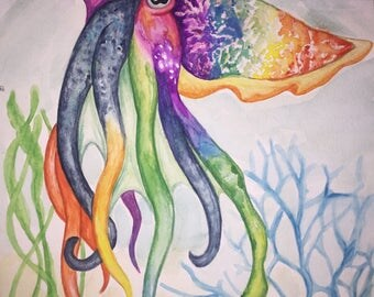 Rainbow Watercolor Cuttlefish