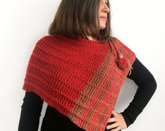 Knitted poncho / Poncho / Red poncho / Wool Poncho / Poncho de punto / Knitting shawl / Casual