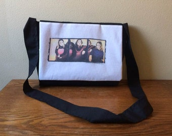 Upcycled T-shirt Messenger Bag: Vintage Hanson shirt
