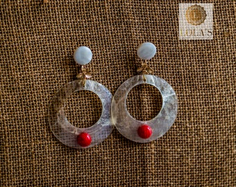 Earrings Flamenco Ring of mother of Pearl and Coral Stone
