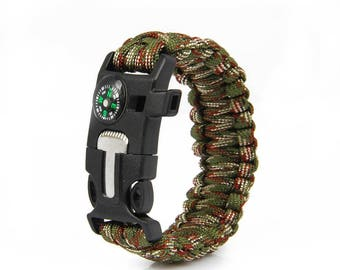 Survival Paracord Bracelet 5 in1 (Green Camo)