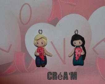 Set of 2 Poupettes boy + girl with version 1 heart - Valentine's day Collection - jewelry handmade