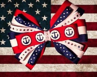Americana Anchor Hair Bow