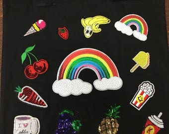 black cotton bag  iron on high quality  sequins / embroidered (choose  6pcs patch)