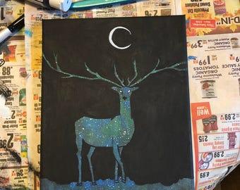 Space Elk Silhouette Painting