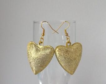 Earrings with heart, Golden hearts, Original  earrings/Fashion earrings/ Summer earrings/ Festive earrings/Earrings with bells/Golden hearts