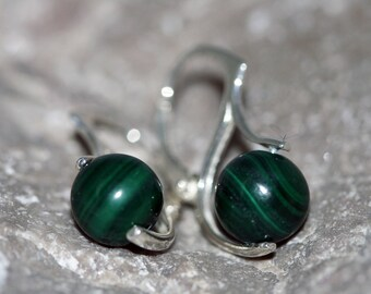 Malachite Earrings. Delicate, deep green, Malachite spheres in a sterling silver setting. Handmade & unique.