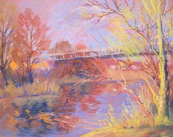 Pastel drawing, Spring Landscape, River Landscape, Village,  The River bridge, Spring Trees, Original drawing, Pastel art by Anna Trachuk