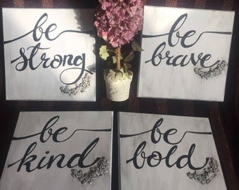 Inspiring wall sign set strog.brave.bold.kind