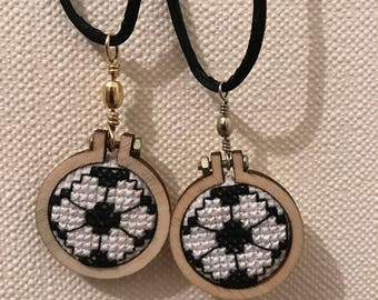 Cross stitch necklace / Cross Stitch - football.