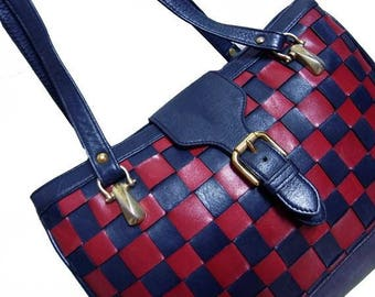 Fiber Street VINTAGE! 80s 70s vintage leather woven bag / rare beautiful navy blue & red !