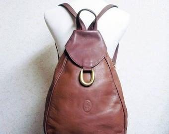 Fiber Street VINTAGE! special design! beautiful vintage leather and metal Backpack bag