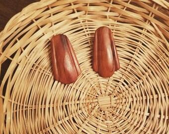 Handmade vintage teak wood earrings