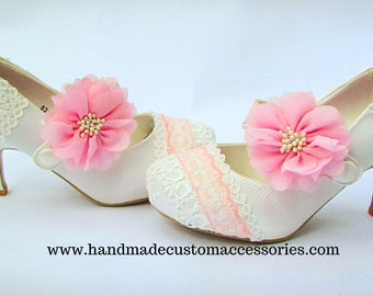 Pink and white mary jane heels/ wedding / prom/ party heels