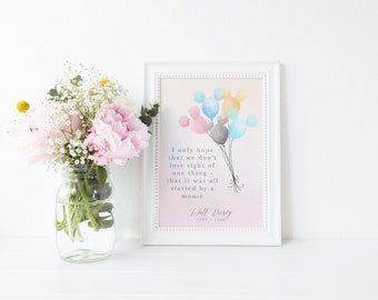 Watercolour Magical Walt Disney Mickey Mouse Inspirational Quote Print A4 A5