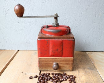 French vintage Peugeot frères red metal coffee grinder. Manual grinder. Hand coffee grinder. Red coffee grinder. French country.