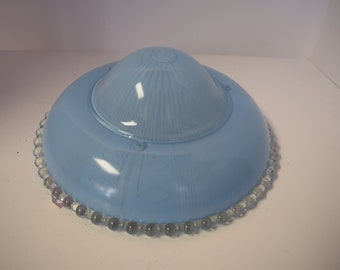 Vintage Powder Blue Glass Light Cover
