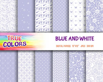 Blue and White - Digital Paper