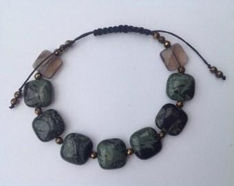 Bracelet of Mosagaat, hemal, Smoke quartz