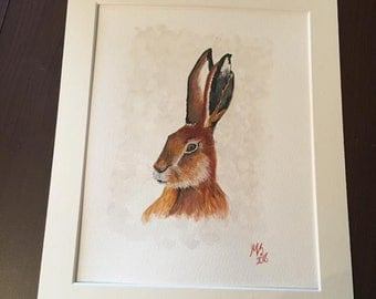 Original watercolour painting 'Martha the hare'