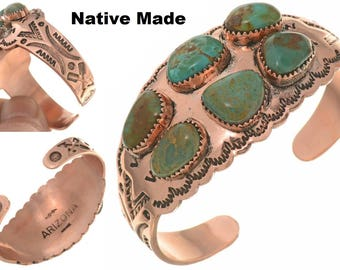 Turquoise Copper Cuff Ladies Navajo Bracelet Native Made