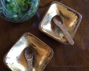 Vintage Bohemian Chic Wooden Bowl Set Spoons Gold Leaf - Salt Pepper Cellars