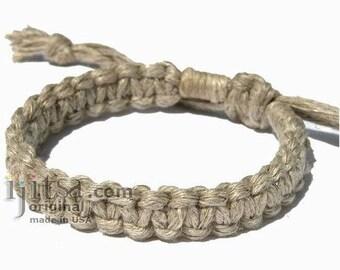 Natural Hemp Flat Adjustable Bracelet or Anklet