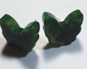 Small Matbled Green Bakelite Butterfly Earrings