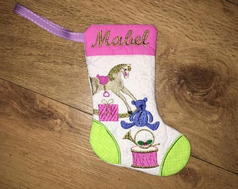 Personalised  16.5 cm Christmas stocking, fully lined